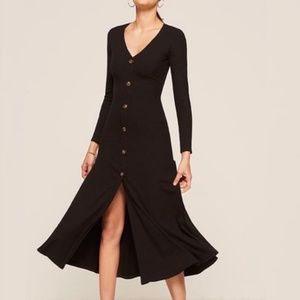 Reformation London Ribbed Midi Long Sleeve Dress